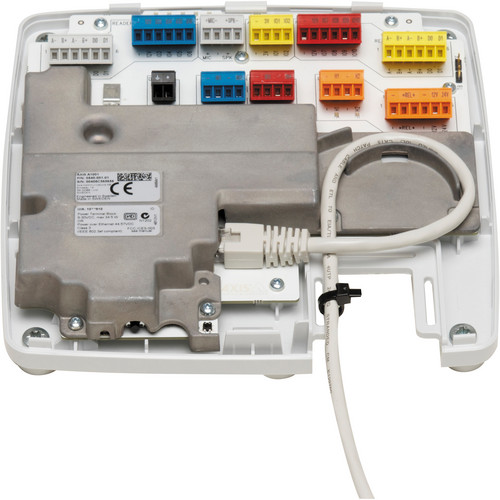 Axis  munications A1001  work Door Controller on fire alarm control panel installation